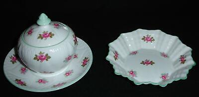 Shelley Rosebud Dainty Pink with Green Trim Covered Mustard, Plate, Sweetmeat