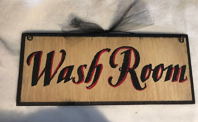 Country WASH ROOM laundry Bathroom Outhouse primitive wall art decor wood Sign
