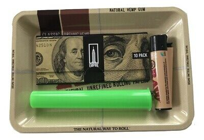 Raw Rolling Tray Bundle Empire $100 Bill Rolling Papers Tips Doob Tube Clipper