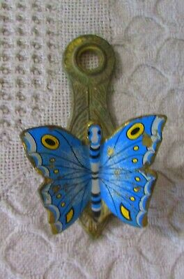 Vintage Allied Brass Blue Butterfly Paper Clip Note / Bill Holder Desk Or Wall