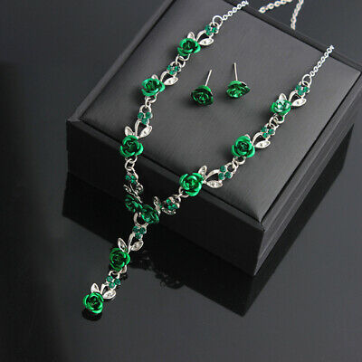 Green Necklace Rose Leaf Pendant Chain Choker Clavicular Ear Stud Set Wedding