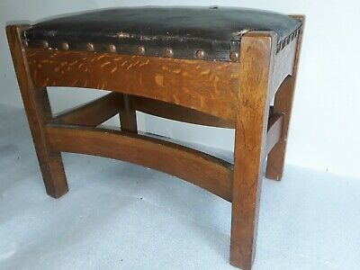 Vtg. mission oak footstool Arts & Crafts antique stool Lifetime Stickley Limbert