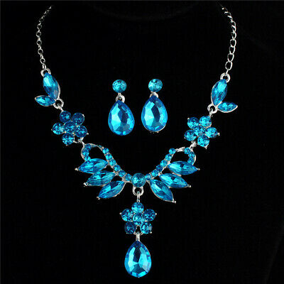 Sparkle Blue Crystal  Pendant Necklace Choker Chunky Statement Earrings Set