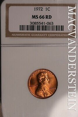 1972 Lincoln Memorial Cent - Ngc Ms 66 Rd - Brilliant Uncirculated!!  #Slc326