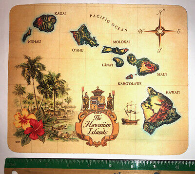 Hawaiian Wetsuit Mouse Pad Mousepad Clean Cloth Computer Vintage Islands Map NIB