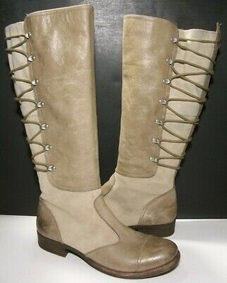 e73c0c7cc Naya Apollonia Taupe Suede & Leather Side Zip Wide Calf Tall Riding Boots  9M 41