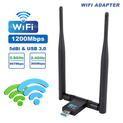 1200Mbps WIFI Adapter Dongle USB 2.4GHz5.8GHz Wireless LAN Network For LaptopPC