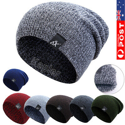 Mens Womens Warm Wool Knit Baggy Beanie Winter Hat Ski Slouchy Chic Knitted Caps