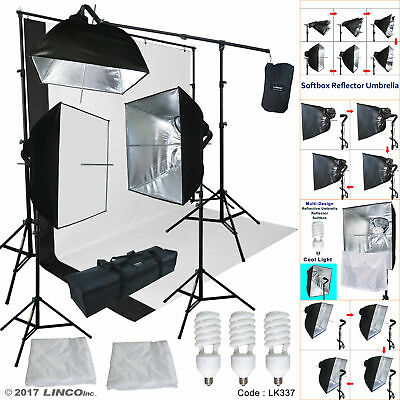 Softbox Lighting Kit Black/White Backdrop Support Stand Photography Studio Video