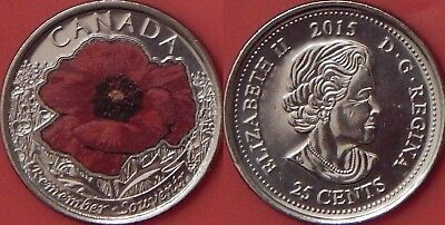 Brilliant Uncirculated 2015 Canada Poppy Color 25 Cents From Mint's Roll