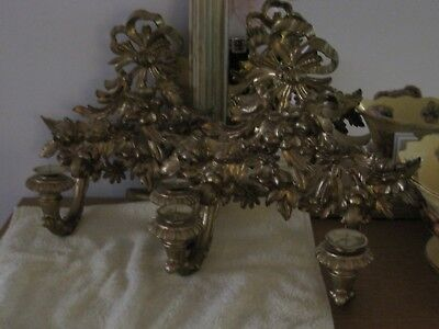 Pair Vintage  Italian Ornate  Candle Sconces ~ Gold Painted Resin Style Material