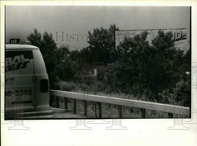 1990 Press Photo Trees partially block billboard along I-90 i Albany, New York