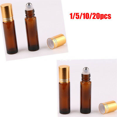10ml THICK Glass Roll On Bottles Big Metal Roller  Essential Oil Ball GT