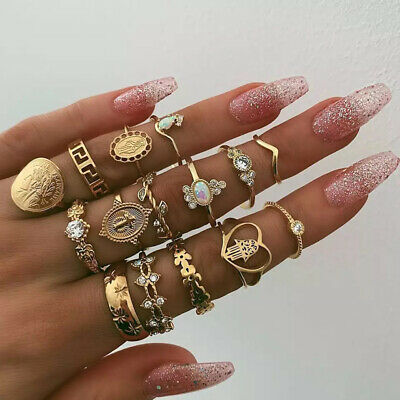 15pcs Women Gold Boho Stack Plain Above Knuckle Ring Midi Finger Tip Rings Set