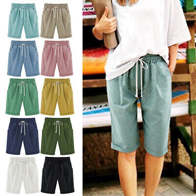Womens Ladies Combat Chino Cargo Shorts Knee Length Holiday Pants Plus Size 6-26