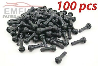 TR414 x 100 Car Rubber Tubeless Tyre Wheel Valves Snap in CAPS+VENTILS