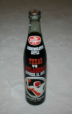 Texas Longhorns vs. Oklahoma Sooners Dr Pepper 1973 Commemorative Bottle