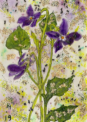 """ACEO """"Violets"""" Original Collage and Acrylic Painting, By Hélène Howse"""
