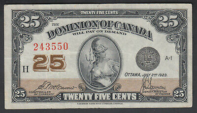 1923 Dominion Of Canada 25 Cents Bank Note Mccavour