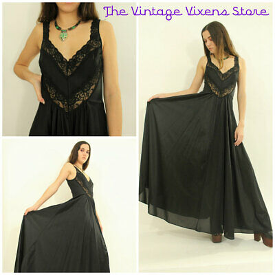 VTG 70s Sheer Draped MASSIVE SWEEP Deep V LACE Boho Chic Maxi Slip Dress xs/s