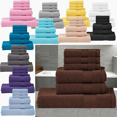 Luxury Towel Bale Set 100% Egyptian Cotton 6Pc Face Hand Bath Bathroom Towels