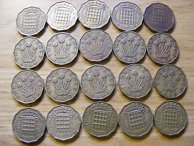 Collection of 20 Threepence Coins - dates George VI &  Elizabeth