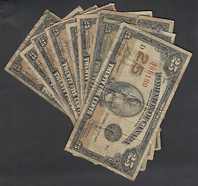 1923 Dominion Of Canada 25 Cents Bank Notes Mccavour Lot Of 10