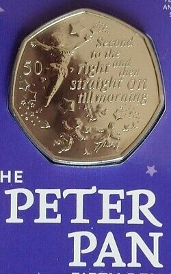 Peter Pan 50P Coin 2019 Bu Sealed 90Th Anniversary Ormond Street J M Barrie