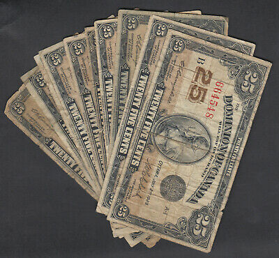 1923 Dominion Of Canada 25 Cents Bank Notes Campbell Lot Of 10