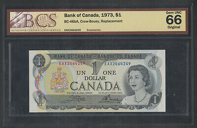 1973 Bank Of Canada Replacement 1 Dollar Bank Note Eax