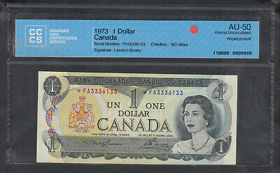 1973 Bank Of Canada Replacement 1 Dollar Bank Note *Fa