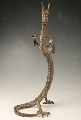 Rare Chinese Bronze Hand Carving Dragon Statue Oversized Old Collection