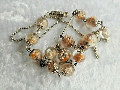 Vintage Art Deco Old Somerso Orange Silver inclusions Glass Necklace