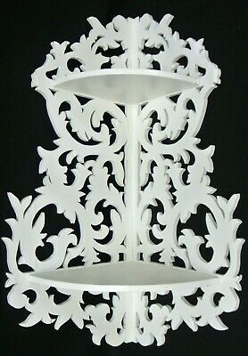 Vintage White Ornate Wooden Wall Corner Shelf with Two Shelves, Home Decor
