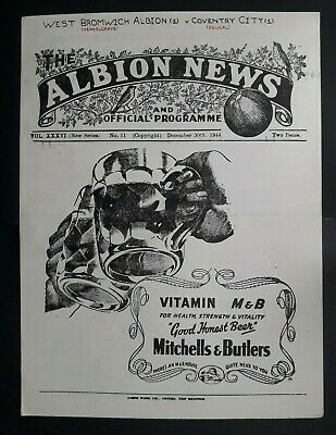 West Bromwich Albion v Coventry City 1944 - 1945 football programme (30/12/44)