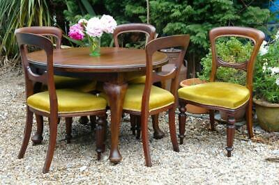 Antique Victorian Small Mahogany Dining Table & Chairs (x5) Chunky Solid Rustic