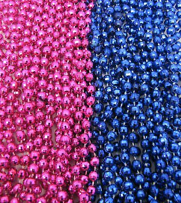 2 dz Mardi Gras Beads HOT PINK/BLUE Gender Reveal Party Baby Shower 24 NECKLACES