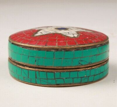 Vintage Chinese Copper Turquoise Seal Box Crafts Decorative Gift Ladies Collec