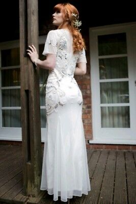 Frock frill lace asos wedding bride 20s deco Gatsby ivory bead sequin dress 12