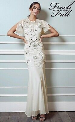 New Frock frill lace asos wedding bride 20s deco Gatsby ivory bead lace dress 12