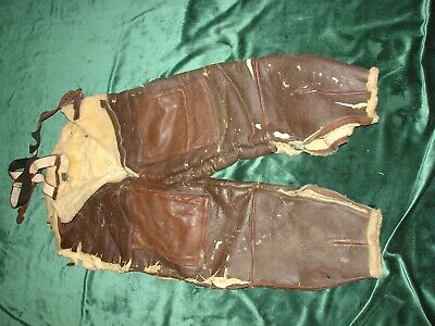 WWII Leather Flight Pants-Aircrew Leather Pants in Poor/Worn-sold for parts only