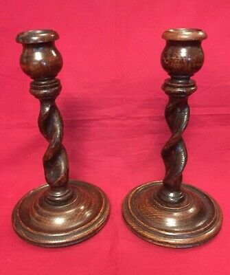 Pair Of Vintage Hand Turned Oak Barley Twist Candlesticks c.1920's-1940's
