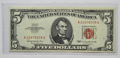 1963 $5 Red Seal US Note Legal Tender FR#1536 Uncirculated A22676008A
