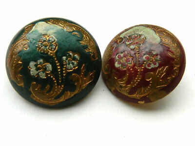 Lot of 2 Antique Victorian Brass Metal Dome Buttons with Enamel Floral Design