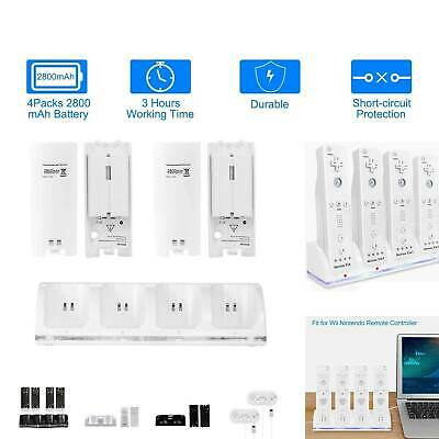 For Nintendo Wii Remote Control Quad Charger Charging Dock Station + 4 Batteries