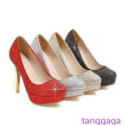 Womens Platform Super High Stiletto Heels Round Toe Slip On Party Bling Shoes