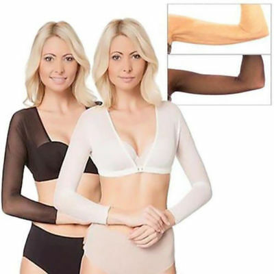 Women Mesh Sheer Bra V Neck Transparent Long Sleeve Crop Top Seamless Arm Shaper