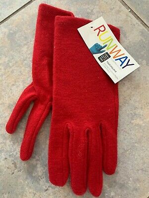 * Large L Womens Solid Red RUNWAY echo Touch Screen Gloves I-phone Wool Blend