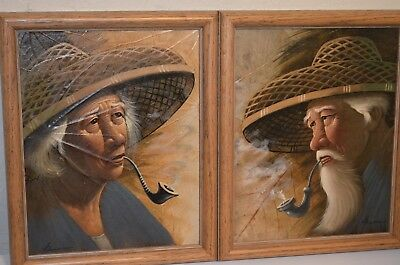 Pipe Smoking Asian Man Woman Original Signed Framed Tobacco Leaf Paintings VTG