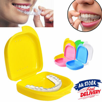 Dental AU Mouth Orthodontic Retainer Box Denture Teeth Sport Case Guard Storage